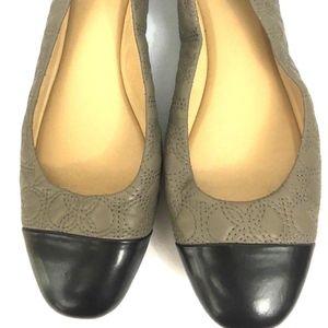 Women's Taupe Black Cap Toe Ballet Flats